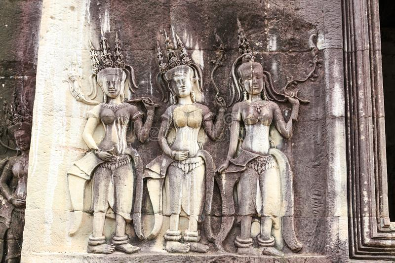 Apsaras on a Wall Near the Center of Angkor Wat Temple in Cambodia royalty free stock images