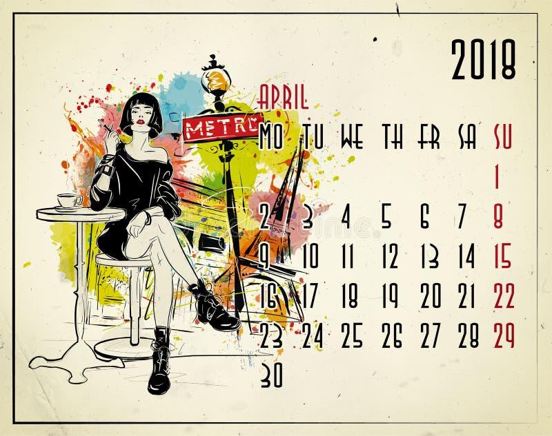 apse 2018 ευρωπαϊκό ημερολόγιο με το κορίτσι μόδας απεικόνιση αποθεμάτων