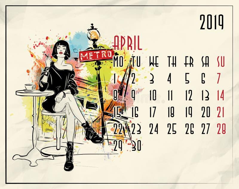 apse 2019 ευρωπαϊκό ημερολόγιο με το κορίτσι μόδας απεικόνιση αποθεμάτων