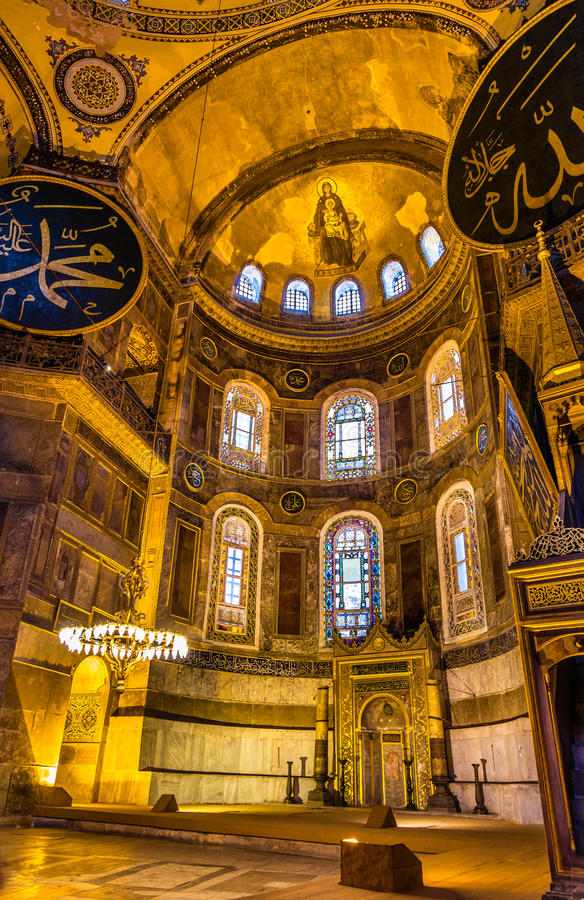 Apse μωσαϊκό του Theotokos (μητέρα και παιδί της Virgin) σε Hagia Sophia στοκ εικόνες