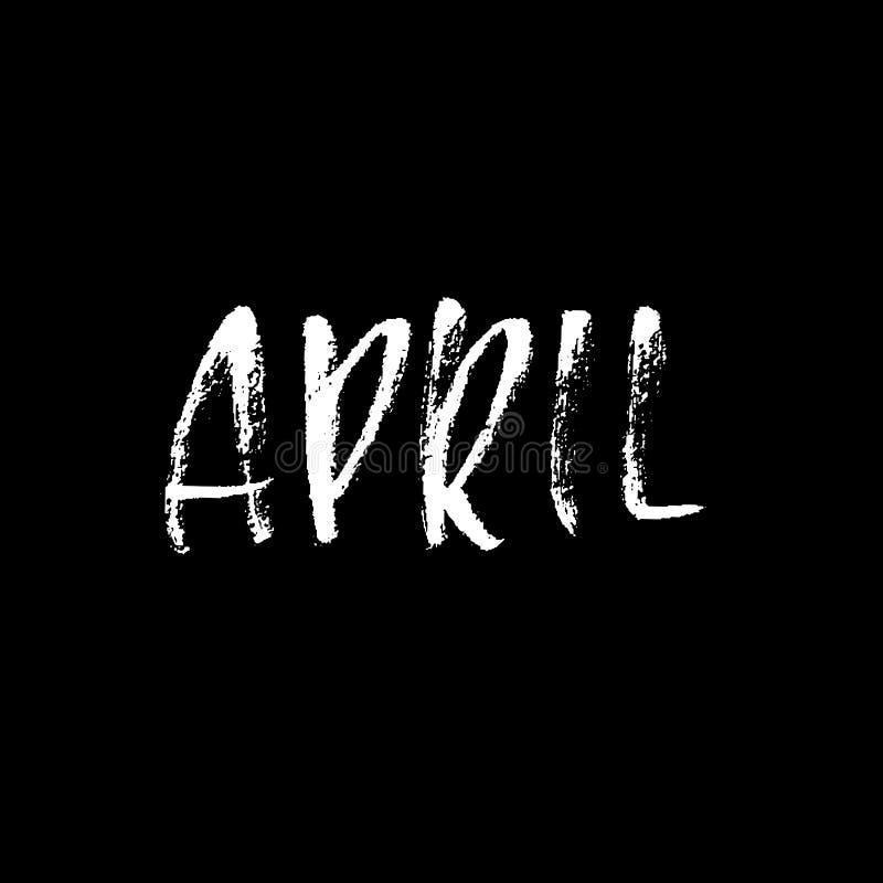 apse Σύγχρονη ξηρά εγγραφή βουρτσών Όνομα των μηνών επίσης corel σύρετε το διάνυσμα απεικόνισης Χειρόγραφη επιγραφή grunge ελεύθερη απεικόνιση δικαιώματος