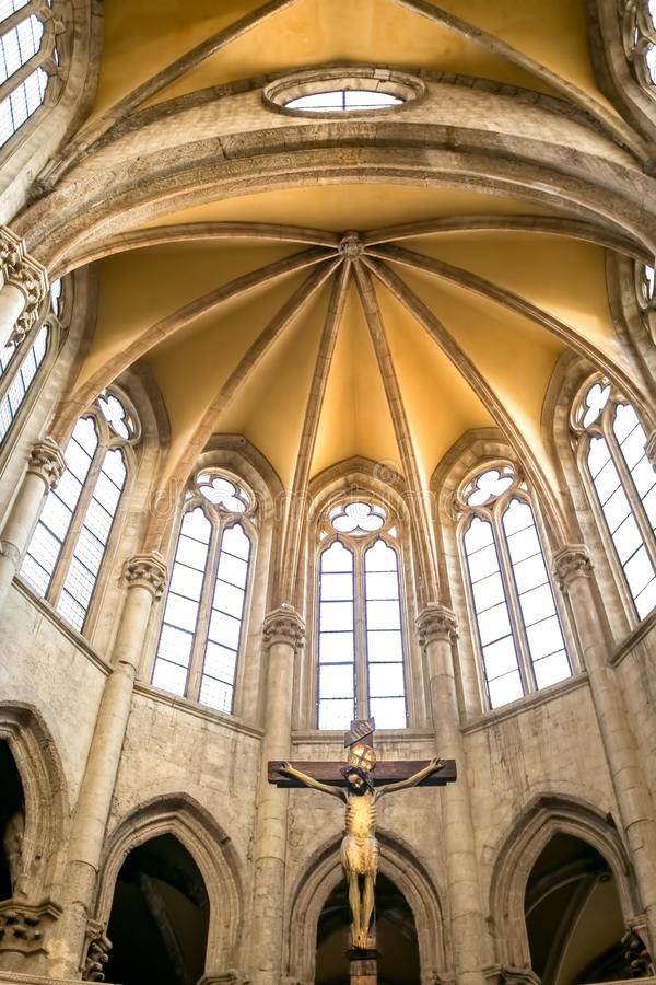 The apse with arches in Gothic style stock photography
