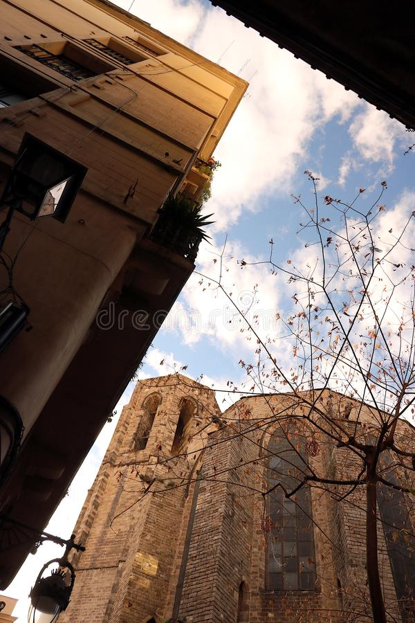 The apse of a church in Barcelona built in the Gothic period royalty free stock image