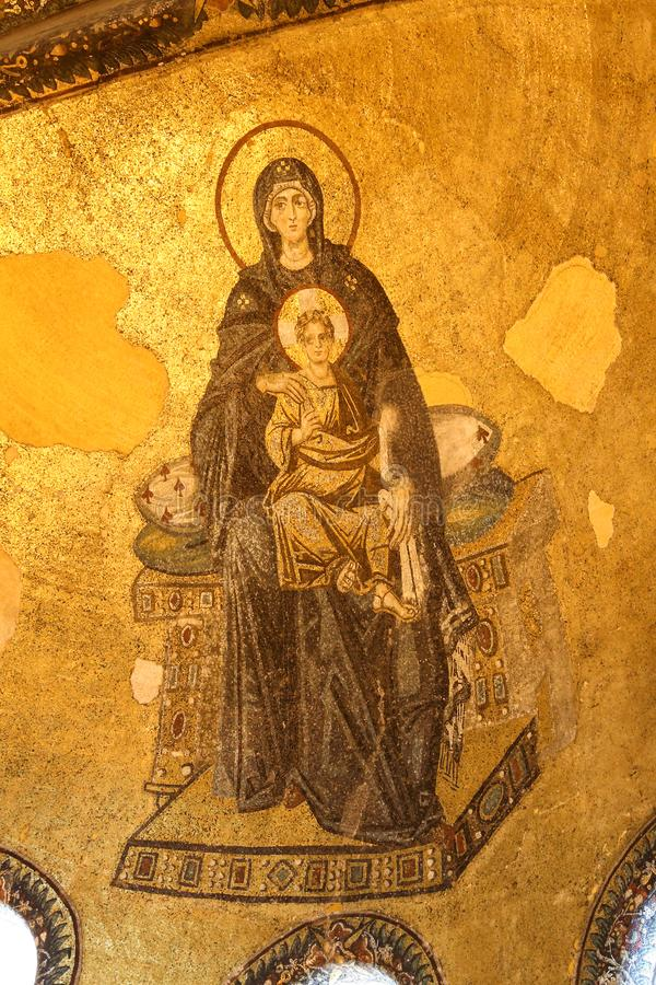 Apsydy mozaika Theotokos w Hagia Sophia muzeum, Istanbuł zdjęcie stock
