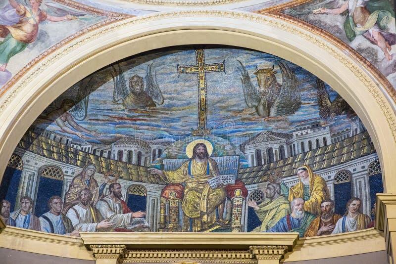 Apsydy mozaika wśrodku kościelnego Santa Pudenziana, Rzym, Włochy fotografia royalty free