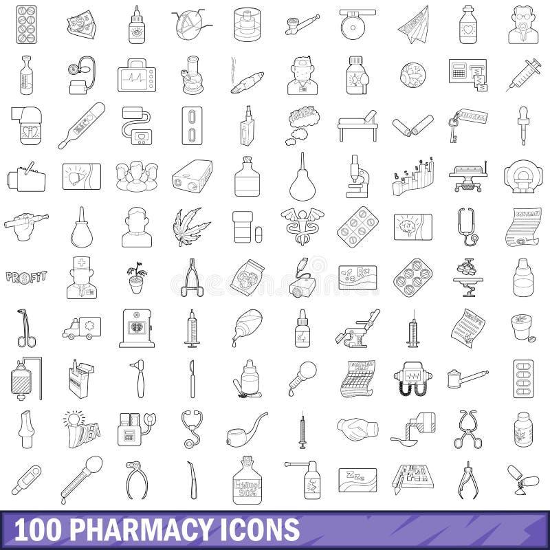 100 aptek ikon ustawiających, konturu styl royalty ilustracja