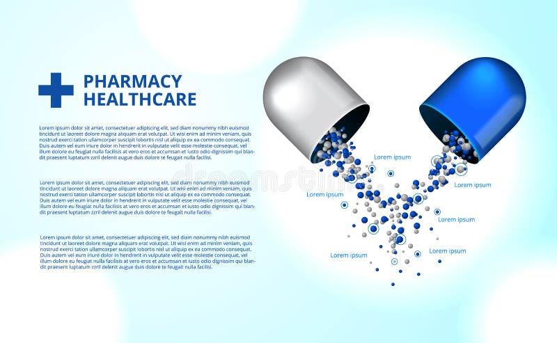 Aptek pigułek kapsuły medycyny opieki zdrowotnej 3D ilustracja royalty ilustracja