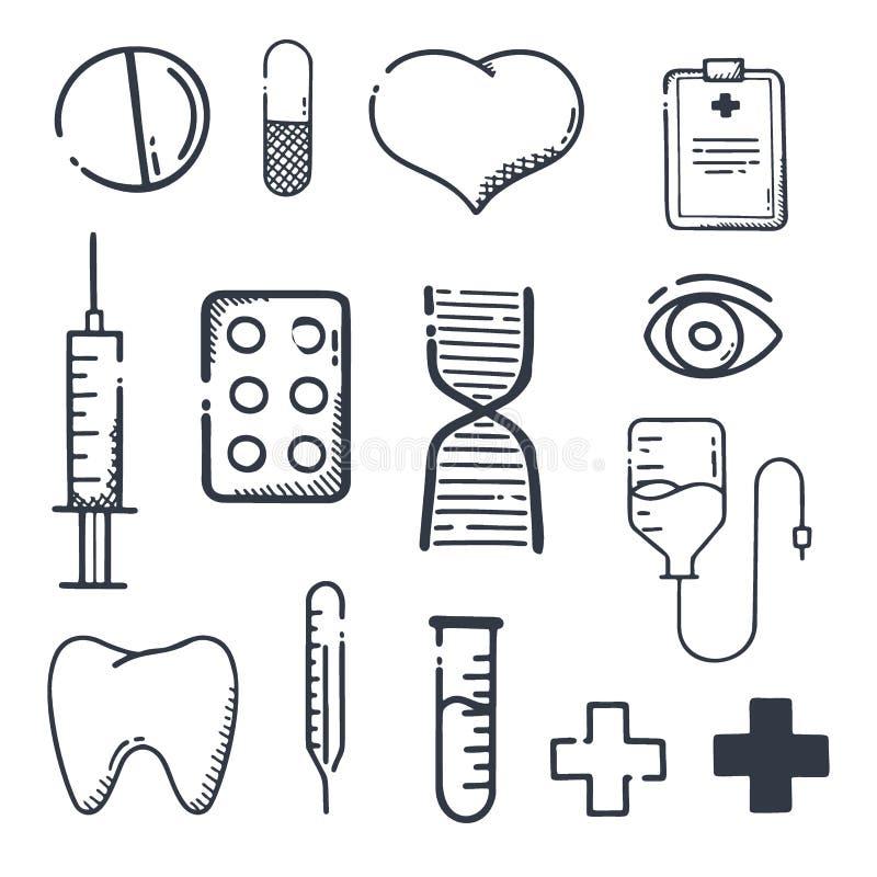 Apteka i Medyczny set ikony Pigu?ki, witamin pastylki, medyczny lek r?wnie? zwr?ci? corel ilustracji wektora royalty ilustracja