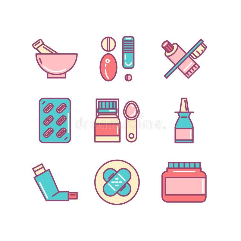 Apteka, Medyczna, zdrowie, pigułki, mikstura, cienkie kreskowe kolor ikony ilustracja wektor