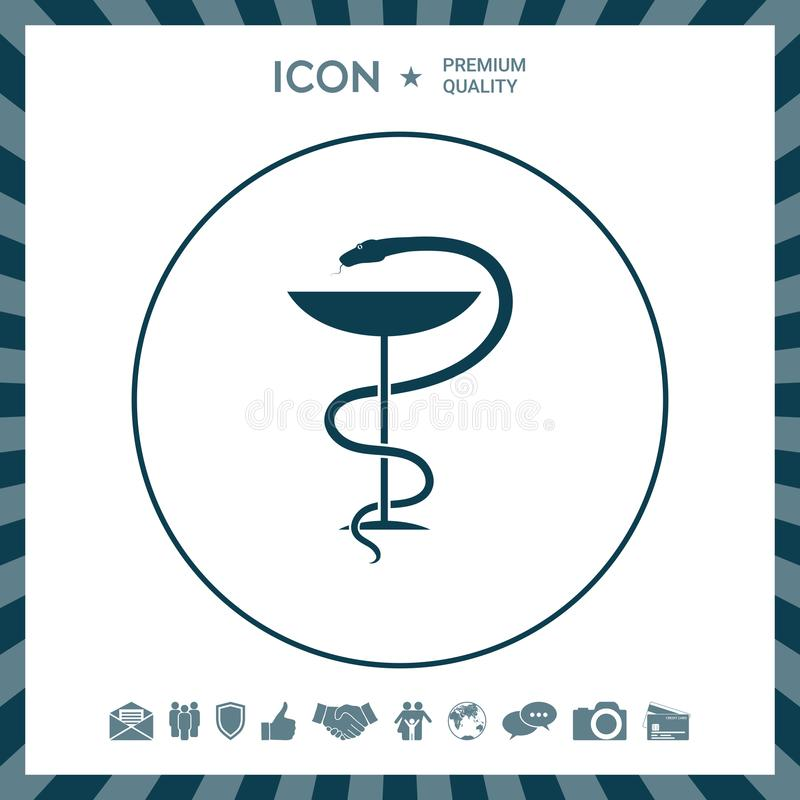 Apteka symbolu medyczny wąż i filiżanka ilustracja wektor
