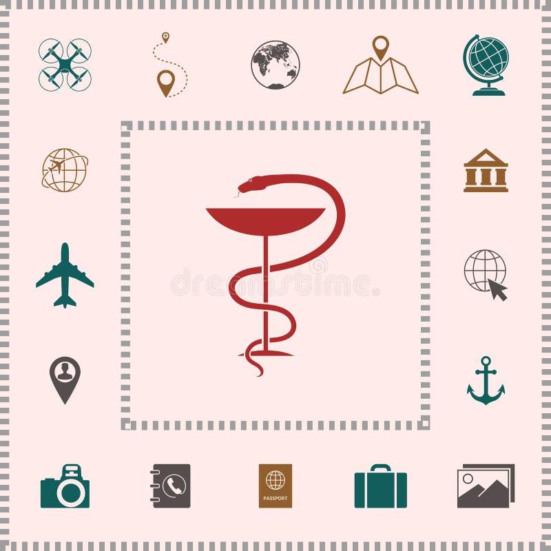 Apteka symbolu medyczny wąż i filiżanka ilustracji
