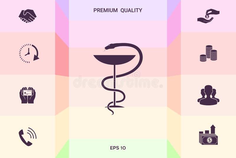 Apteka symbolu medyczny wąż i filiżanka Graficzni elementy dla twój projekta royalty ilustracja