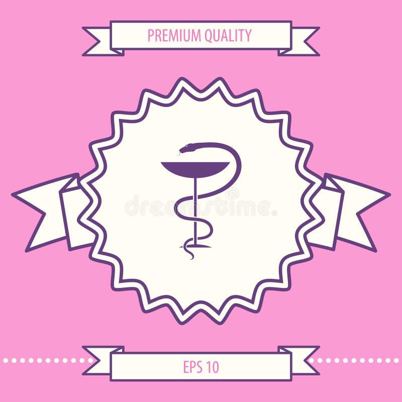 Apteka symbolu medyczny wąż i filiżanka Graficzni elementy dla twój projekta ilustracji