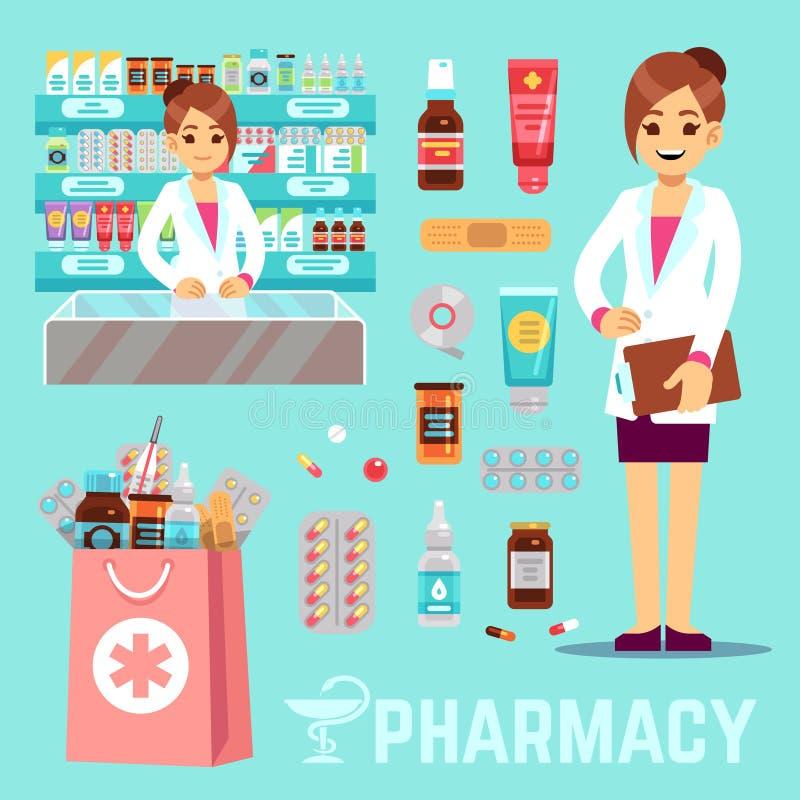 Apteka wektorowi elementy z żeńską farmaceutą i lekami Aptek ikony ustawiać ilustracji