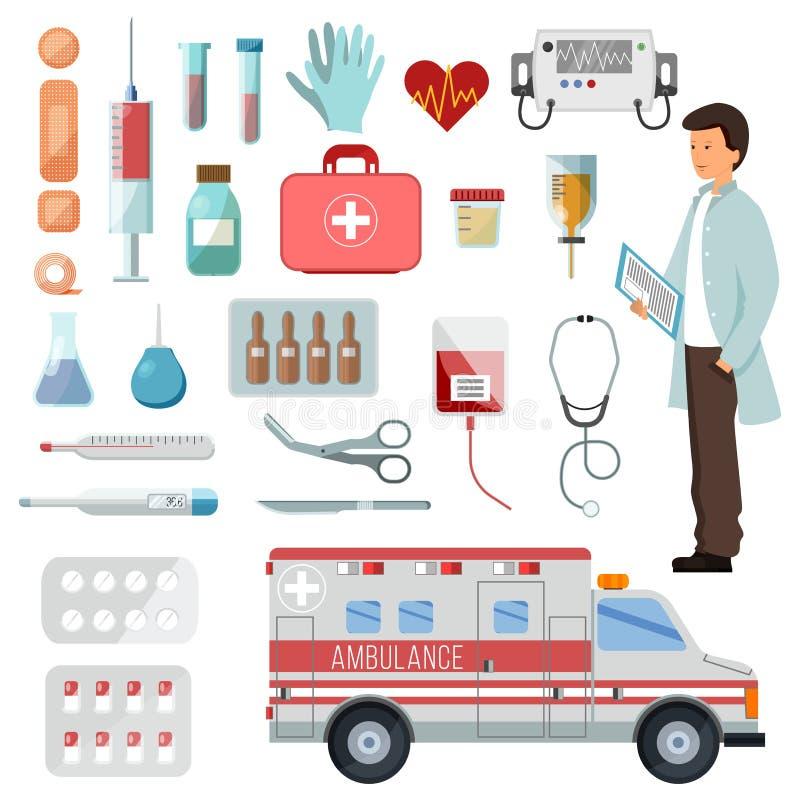 Apteka wektoru lekarki charakter na ambulansowym samochodzie i medycynie narkotyzuje pigułki w zbiornik ilustracji lekarstwie ilustracji