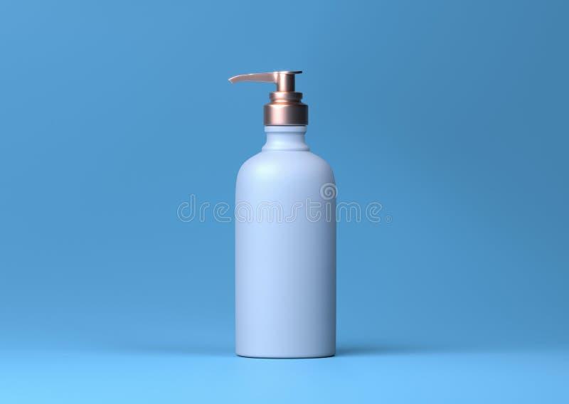 Aptekarki pompy butelka. Otrzymuje realistyczną butelkę z matrycą kosmetyczną z pompą bez powietrza, pojemnik na żel płynny ilustracja wektor