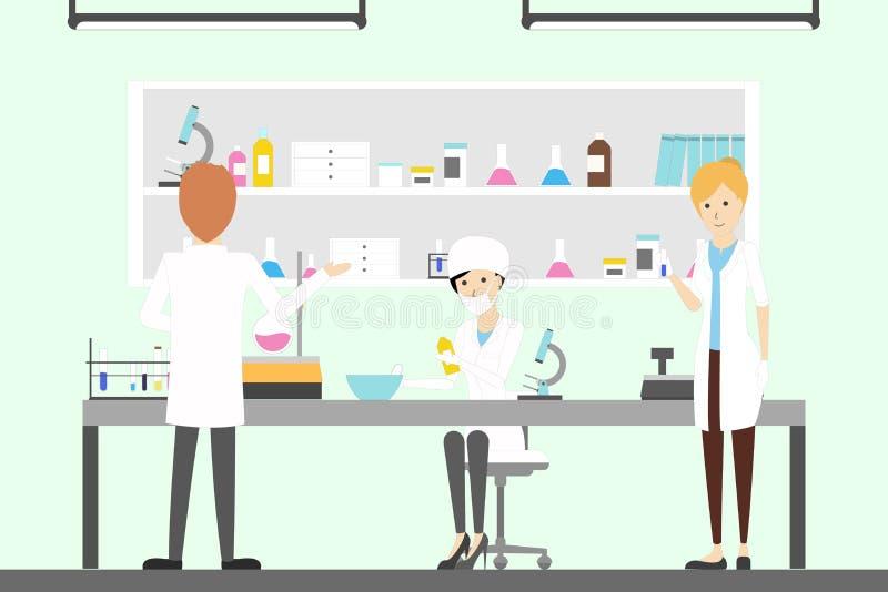 Apteki lab z chemikami ilustracja wektor