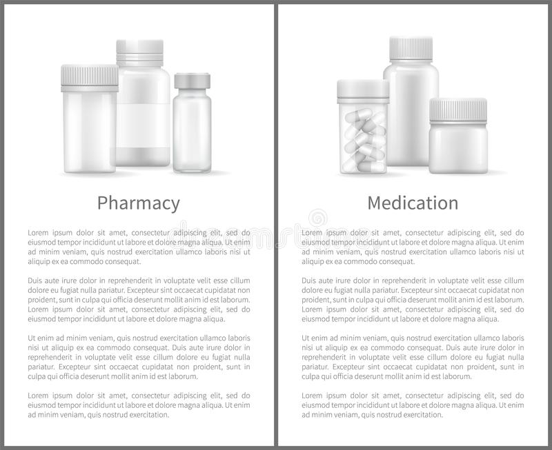 Apteki lekarstwa Plakatowi zbiorniki dla Medicals ilustracja wektor