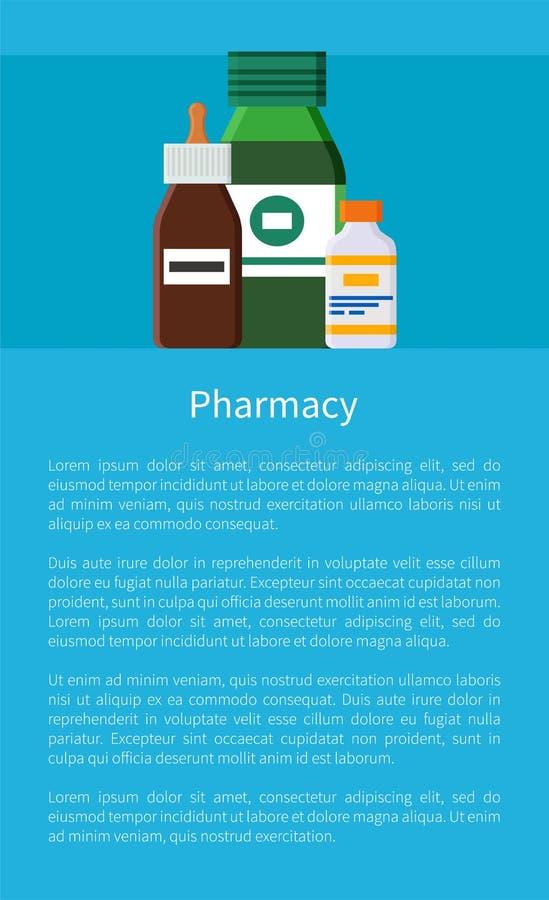 Apteki lekarstwa rzecz Ustawiający Wektorowy plakat ilustracji