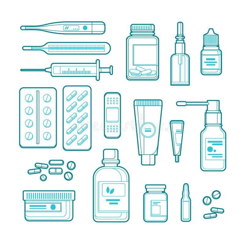 Apteki, medycyny i opieki zdrowotnej kreskowej sztuki ilustracja, Zarysowywa pigułki, narkotyzuje, butelkuje, ikony i projektów e royalty ilustracja