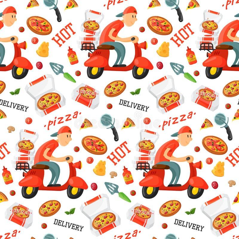 Aptetrn sans couture de cuisinier de pizza de livraison de pizzeria italienne de garçon illustration stock
