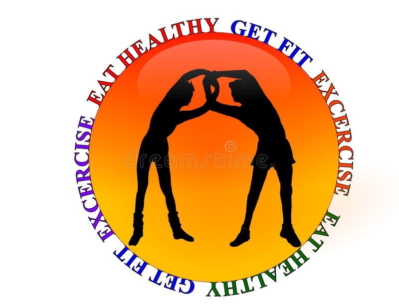 Aptidão da ginástica ou ícone do exercício ilustração stock