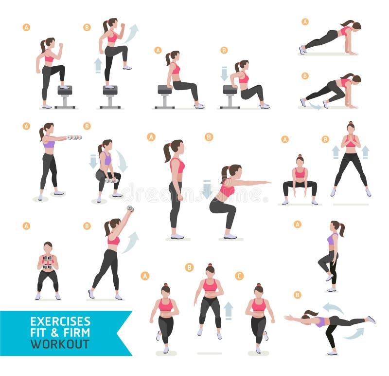 Aptidão do exercício da mulher, aeróbio e exercícios ilustração royalty free