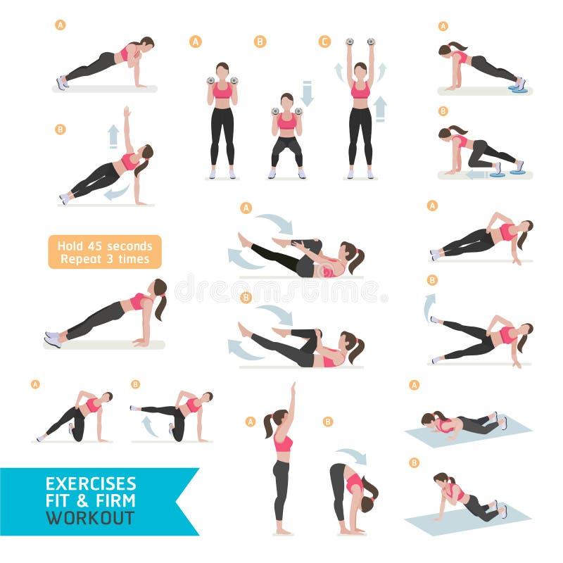 Aptidão do exercício da mulher, aeróbio e exercícios ilustração stock