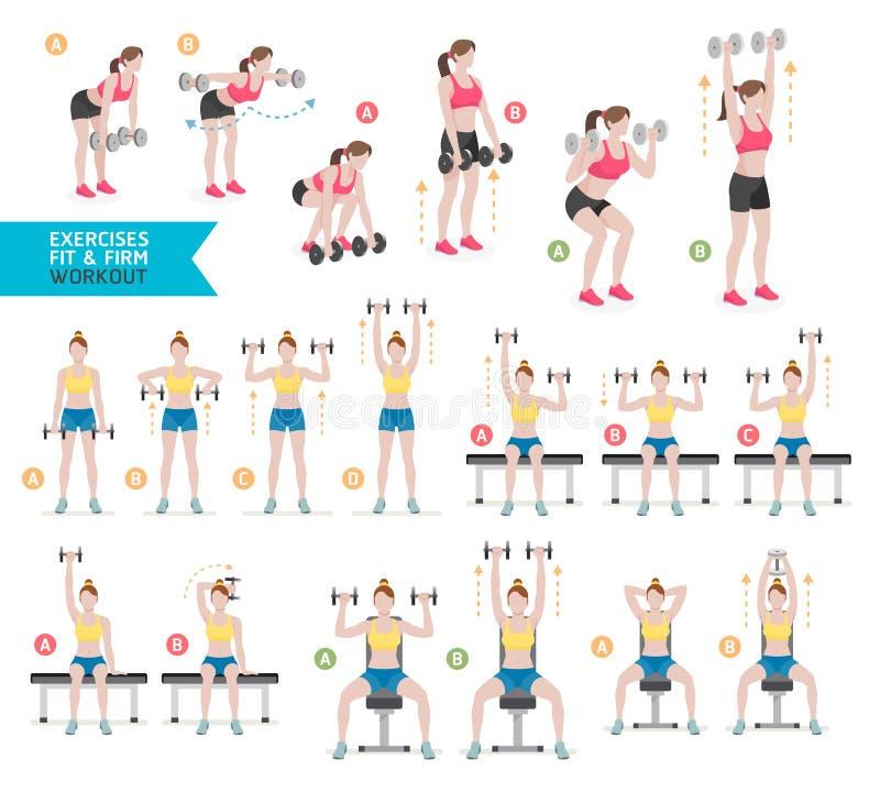 Aptidão do exercício da mulher, aeróbio e exercícios Vetor Illustratio ilustração do vetor