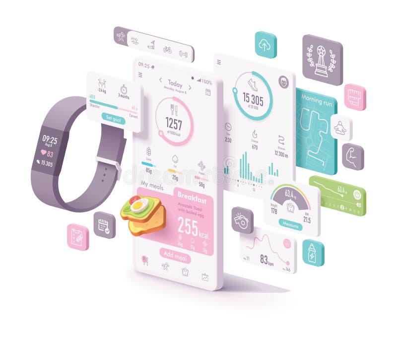 Aptidão do vetor e conceito do app da dieta ilustração royalty free