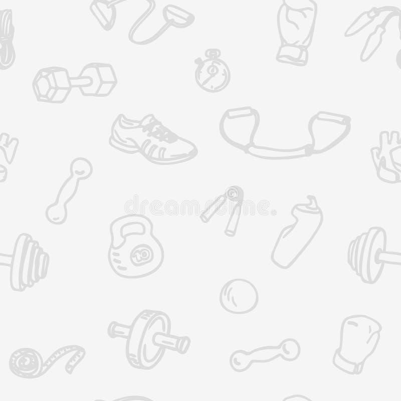 Aptidão e teste padrão sem emenda tirado mão do gym A luz ostenta o fundo do vetor ilustração royalty free