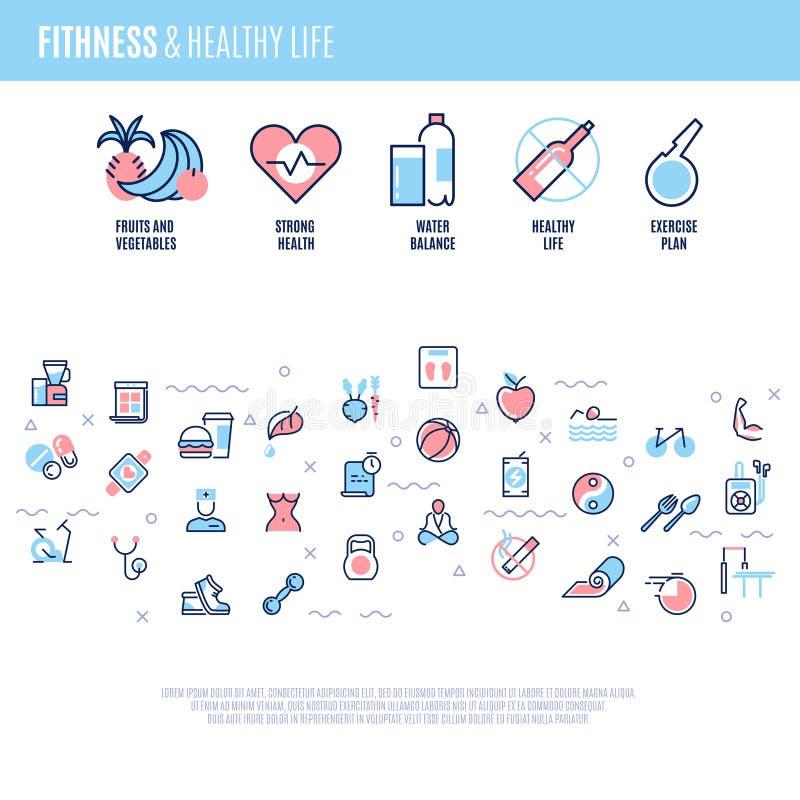 Aptidão, equipamento, esportes que treinam artigos, dieta do peso, conceito saudável do vetor da vida na linha estilo ilustração stock
