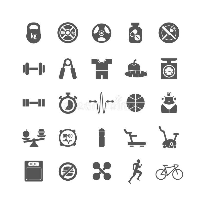 Aptidão, esportes, ícones do preto do vetor do gym ajustados ilustração royalty free