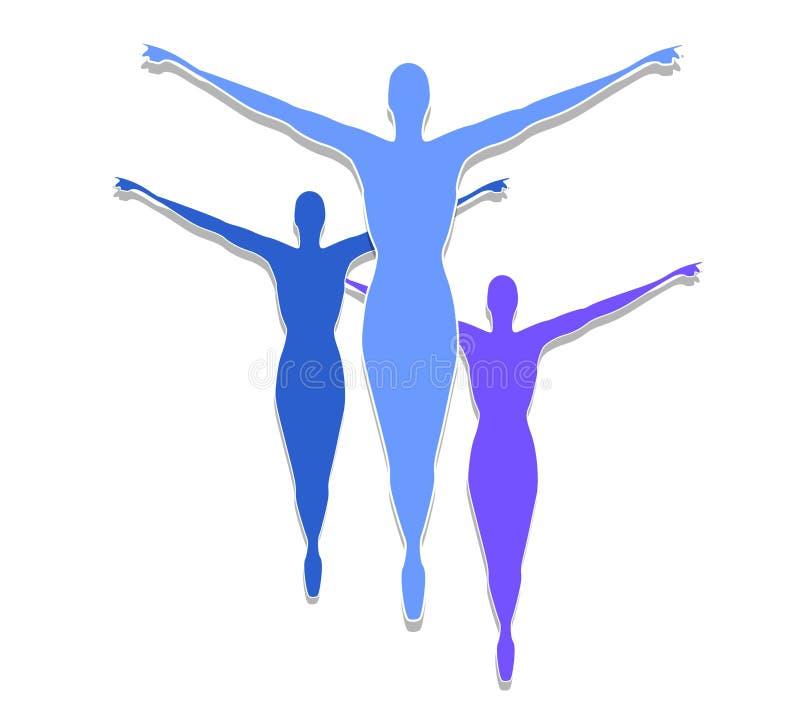 A aptidão fêmea mostra em silhueta o azul ilustração stock