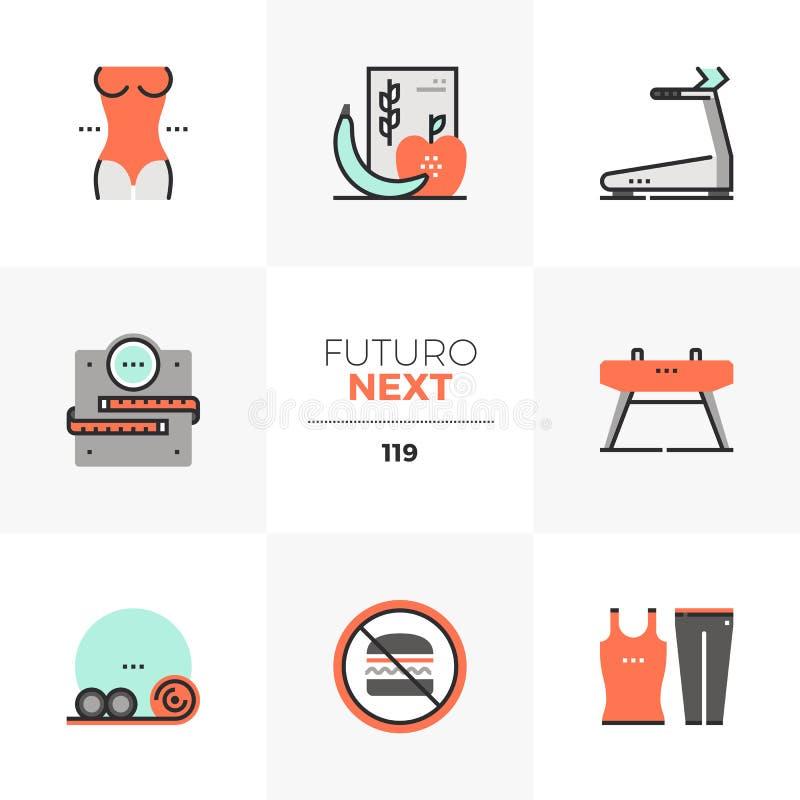 Aptidão que faz dieta ícones seguintes de Futuro ilustração stock