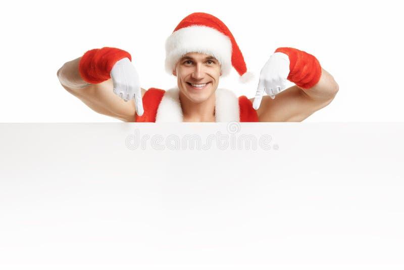 Aptidão Santa Claus com vendas de uma bandeira fotografia de stock royalty free