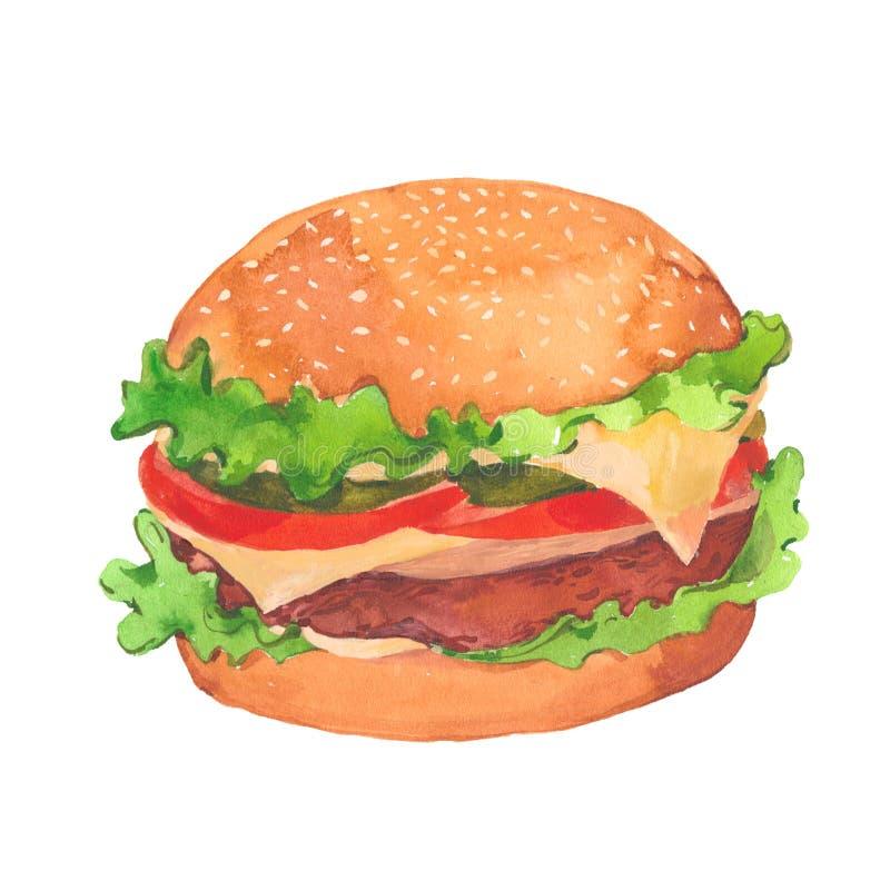 Aptitretande hamburgare för vattenfärg stock illustrationer