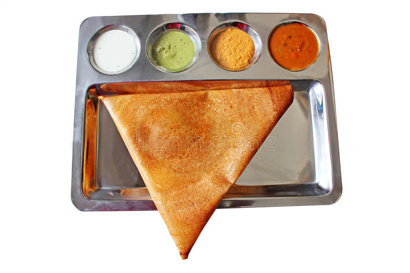Aptitretande läcker trekantig indisk masaladosa arkivfoton
