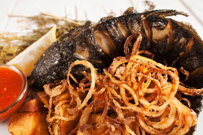 Aptitretande mål av stekte fisk- och lökcirklar arkivbild