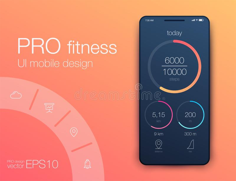 Aptitud app Diseño de UI UX Concepto de diseño de UI con los elementos de la web ilustración del vector