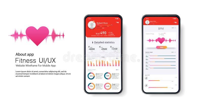 Aptitud app Diseño de UI UX Diseño del EQUIPO de UI stock de ilustración