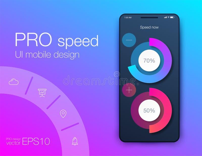 Aptitud app Dise?o de UI UX Concepto de dise?o de UI con los elementos de la web stock de ilustración