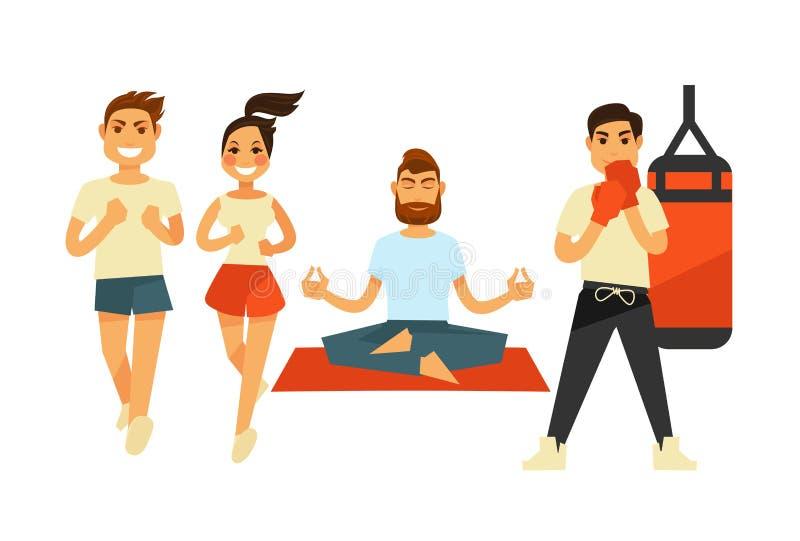 Aptitud de la gente e iconos del vector del ejercicio o del entrenamiento del deporte libre illustration