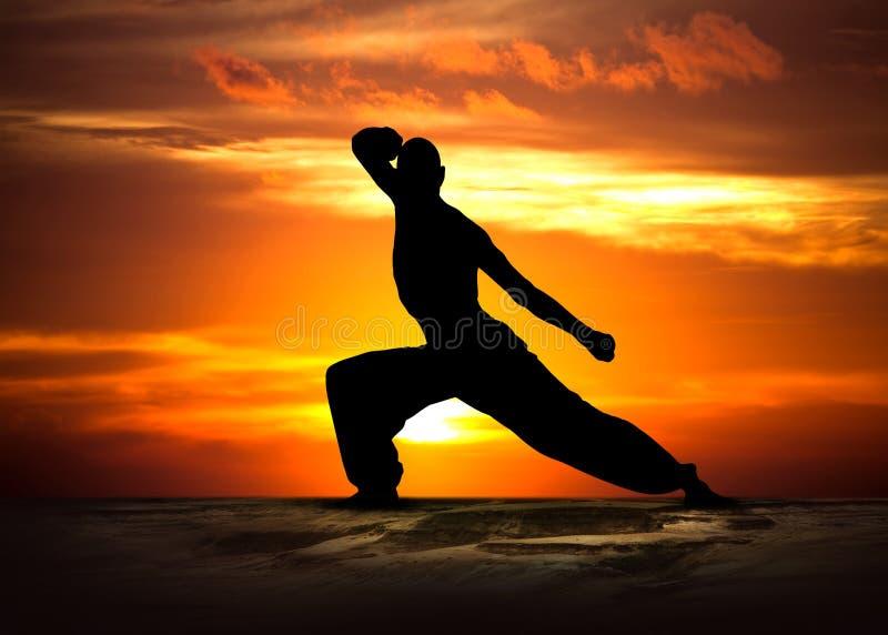 Aptitud de los artes marciales en la puesta del sol fotos de archivo