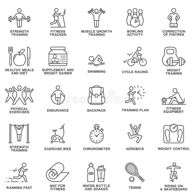 Aptitud de los iconos, ejercicio, equipo del gimnasio, deportes, actividad, reconstrucción, nutrición líneas finas ilustración del vector