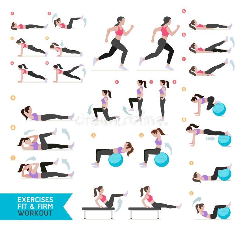 Aptitud del entrenamiento de la mujer, aerobio y ejercicios stock de ilustración