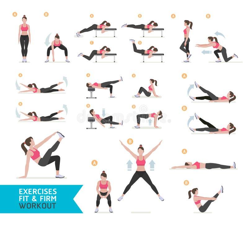 Aptitud del entrenamiento de la mujer, aerobio y ejercicios ilustración del vector