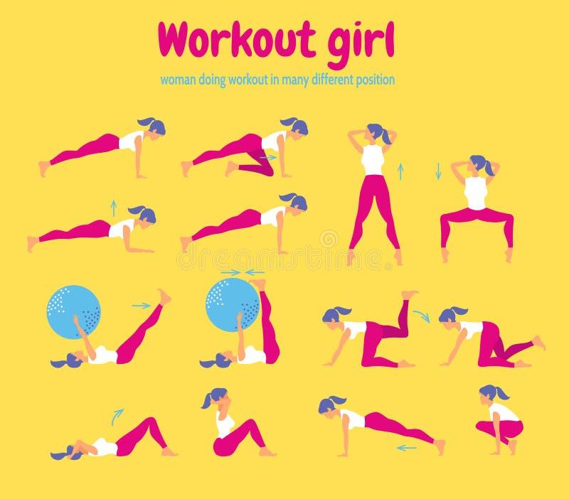 Aptitud del entrenamiento de la mujer Sistema de iconos del gimnasio en fondo amarillo libre illustration