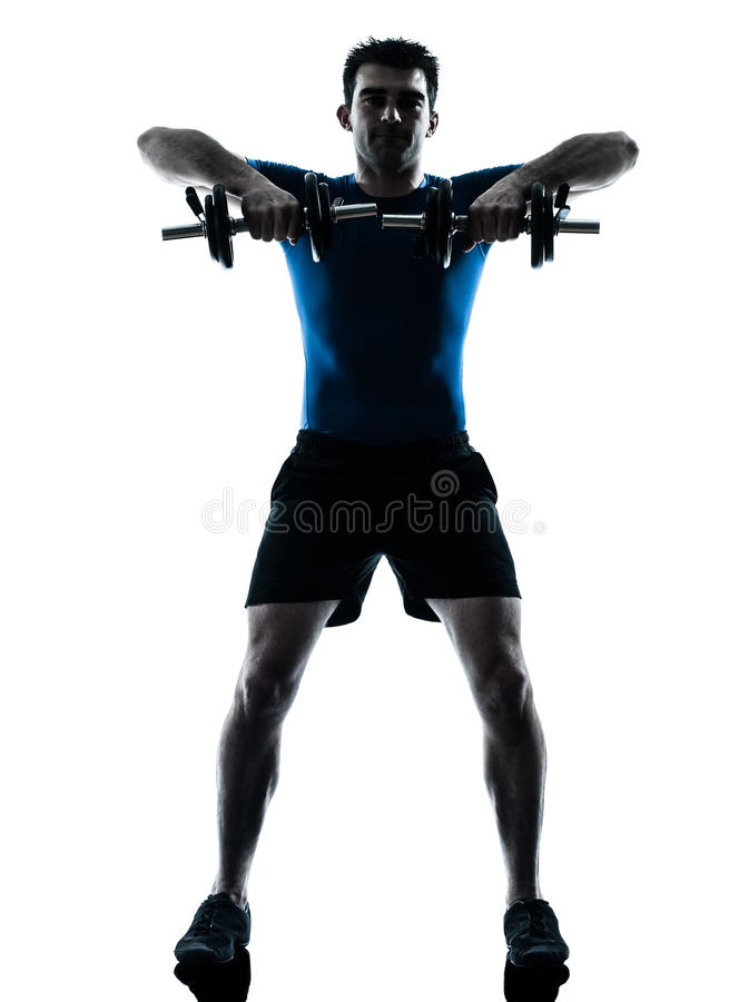 Aptitud del entrenamiento del entrenamiento del peso de ejercicio del hombre imagen de archivo