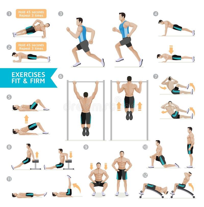 Aptitud del entrenamiento del hombre, aerobio y ejercicios Vector stock de ilustración